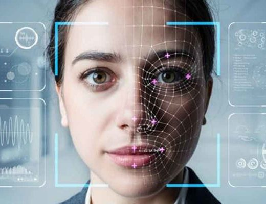 woman's face with digital lines and graphics across it