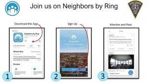device screens show Neighbors app