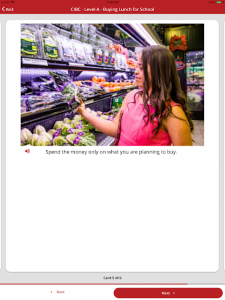 young woman using app to help with food shopping
