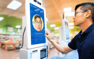 man using face recognition screen