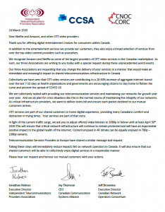 letter in which cable operators ask for video bandwidth reduction