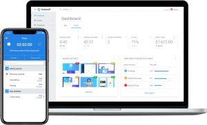 smartphone and ;aptop screens show hubstaff software
