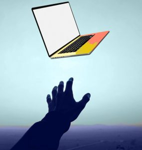 drawing of hand reaching for laptop in space