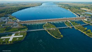 huge dam spans wide review in this aerial shot