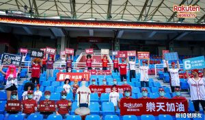 virtual fans or robots are seen in teh seats of a sports stadium