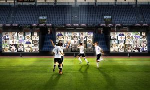 computer grphic shows soccer players on pitch, virtual fans in stands