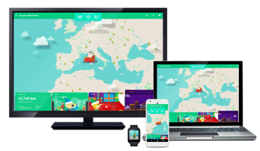 graphic shows digital devices with Santa tracker on screen
