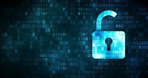 open padlock against digital background