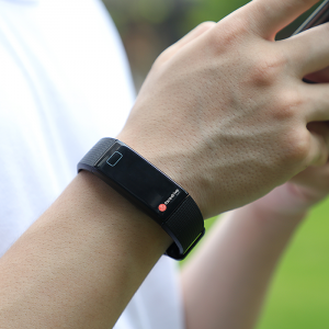facedrive health band is worn on person's wristwristband