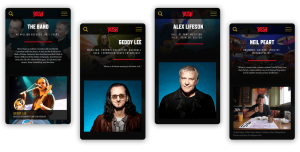 four smartphones with musical app about RUSH pictured