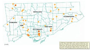 map of Toronto shows hotspots wiht poor Internet service