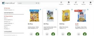 online shopping cart screen with snack food choices