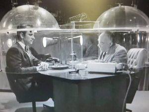 black and white TV still shows the Cone of Silence in action