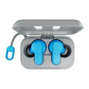 sky blue earbuds in case