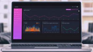 computer screen shows data dashboard user interface