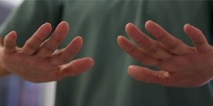 two hands are shown