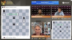 screen grab shows online chess board, players faces