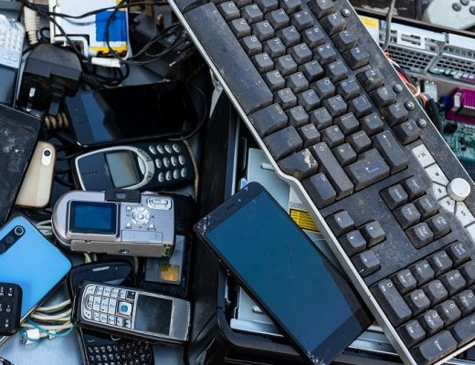 pile of e waste electronics products