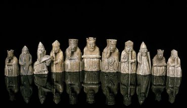 a set of classic old chess pieces