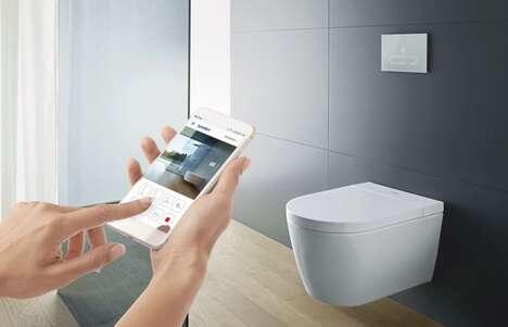 hand holding smartphone seen near toilet