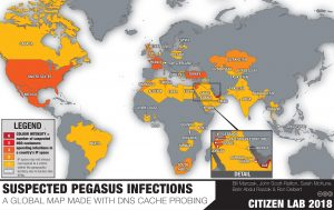 Citizen Lab map of globe shows possible Pegasus use in various countries