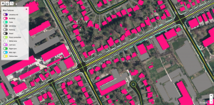 HD map shows graphic representation of urban features, such as roads, buildings, sidewalks and more.