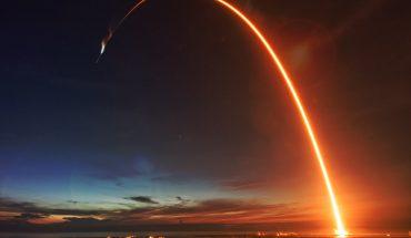 launch trail of rocket seen in night shot